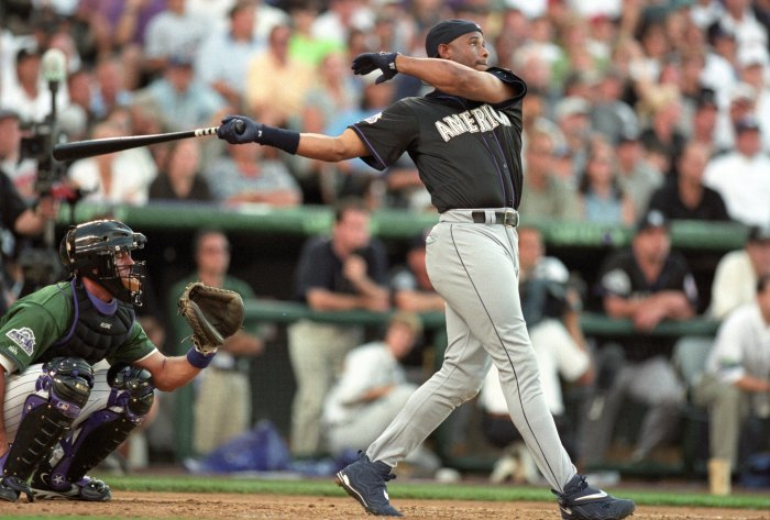 DENVER - JULY 6: Ken Griffey Jr. participates in the Home Run Derby prior to the 69th MLB All-Star Game at Coors Field on July 6, 1998 in Denver, Colorado. (Photo by Brian Bahr/Getty Images)